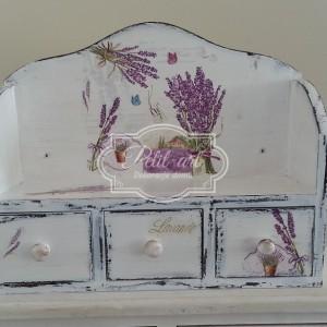 Półka z szufladkami Lawenda Shabby Chic Prowansja