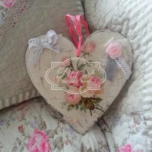 Zawieszka Duże Serce Róże shabby
