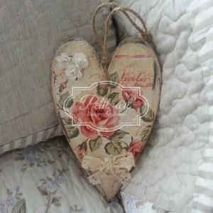 Zawieszka Serce czerwone różyczki shabby