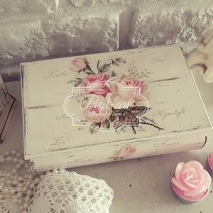 Róże shabby stylowa Szkatułka