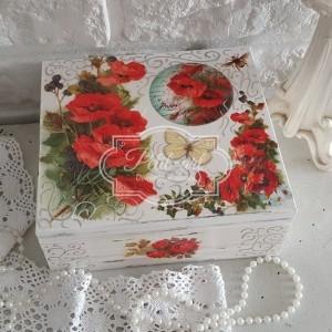 Duża Szkatułka Czerwone Kwiaty