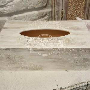 Chustecznik biało-srebrny z reliefami