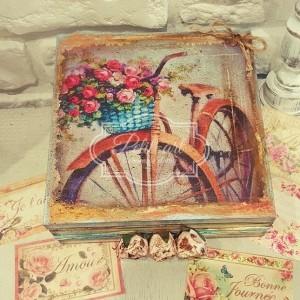 32  Rower z koszem kwiatów