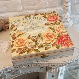 100 B. Duże Pudełko na herbatę lub drobiazgi Róże