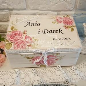 117 Skrzynia ślubna, Kufer, ślub, na koperty, róże
