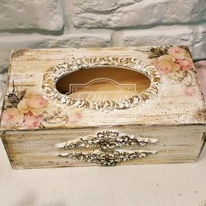 125 Róże chustecznik postarzany, pudełko na chusteczki