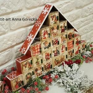 146 Drewniany Kalendarz Adwentowy retro