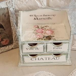 156 Różana Komódka francuskie napisy shabby chic róże