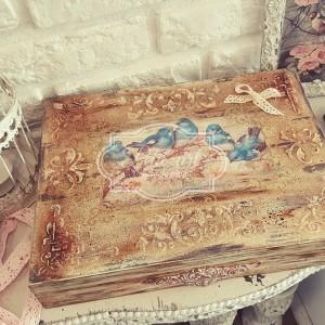 158 Wielka szkatułka Retro Ptaszki pudełko vintage