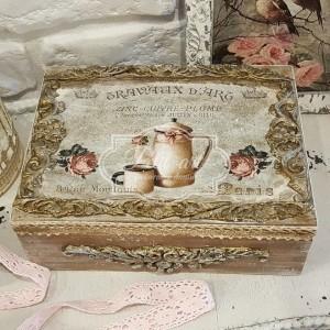160 Duża postarzana herbaciarka szkatułka retro