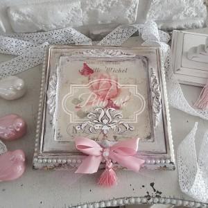 184 Romantyczna Toaletka Szkatułka z lusterkiem Róże