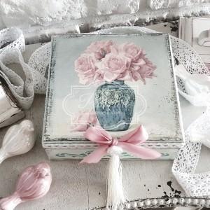 188 Duża Szkatułka Róże w wazonie