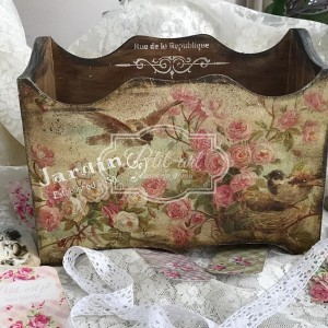 193 Duże Pudełko Ptaszki Róże Vintage