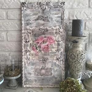 225 Duży Panel, Obraz na drewnie Shabby chic Róże