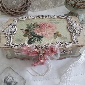 232 Duża Piękna Szkatułka, Róże, Shabby Chic