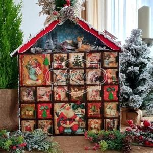 236 Wielki Kalendarz Adwentowy z drewna! Retro