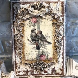 257 Panel Obraz Ptaszki Róże Shabby