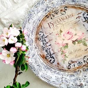 259 Piękna duża taca z różami shabby chic