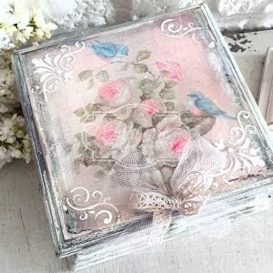 265 Piękna szkatułka Róże Ptaszki Shabby