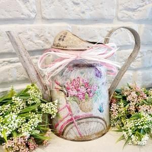 272 Konewka Wazon Rower z kwiatami,  kwiaty