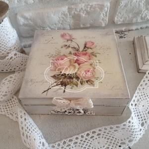 276 Duża szkatułka skrzynka Róże Shabby chic
