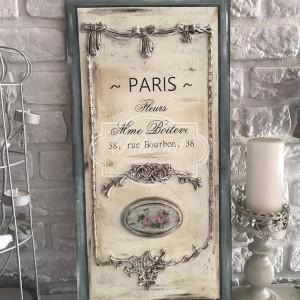 291 Duży Panel, szyld dekoracyjny, Paris francuskie napisy