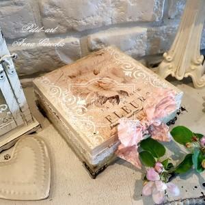 328 Romantyczna Szkatułka z różami drewniana skrzynka shabby